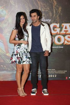 Bollywood actors Katrina Kaif, Ranbir Kapoor, Bollywood filmmaker Anurag Basu, and Bhushan Kumar spotted during the second song launch from Jagga Jasoos film, 'Galti Se Mistake' in Mumbai on June 9, 2017.