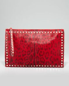 Rockstud Small Calf Hair Zip Clutch Bag, Red Leopard by Valentino at Bergdorf Goodman.