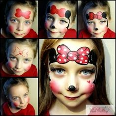 Maremi's Face and Body Painting: Jak pomalowac twarz dziecku Myszka Mini miki / How to face paint Minnie Mouse Mickey