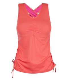 Coral Ruched Tank - Plus Too