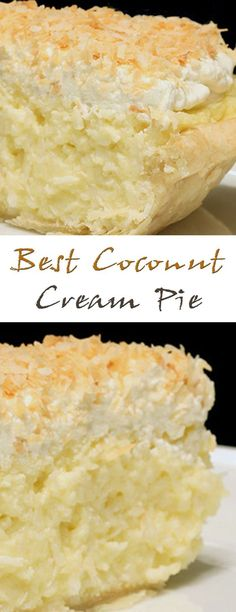 Best Coconut Cream Pie will suit everyone. A delicate and crispy cake, a sweet filling and a layer of coconut cream will give an unforgettable taste. Cook this Coconut Desserts, Coconut Recipes, Just Desserts, Baking Recipes, Delicious Desserts, Cake Recipes, Dessert Recipes, Yummy Food, Coconut Cream Dessert