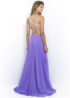Blush Prom 9965 Beaded One Shoulder Chiffon Dress