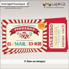 Convite Festa Circo Vintage Ingresso Digital