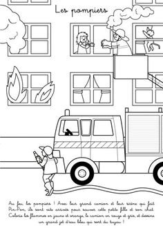 Coloriage à imprimer : Les pompiers Community Helpers, Fire Safety, Ambulance, Drawing For Kids, Firefighter, Coloring Pages, Police, Baby Kids, Crafts For Kids