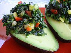 Kale Stuffed Avocados in a Kale #Recipe Round Up BiteSizeWellness.com    Visit http://www.funorganicshirts.com/ for eco-friendly fashions.  Powered by kale!