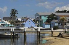 Colorful homes dot the shoreline of Hope Town on Elbow Cay in Abaco.