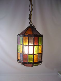 vintage stained glass leaded hanging light lamp chandelier shade rainbow colorful lighting mid century retro modern decorative home decor on Etsy, $150.00