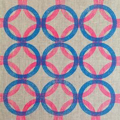 SnapWidget | { week 14 } of my #52weeksofprintmaking challenge is a pattern of blockprinted circles on linen using a rubber seal from the hardware store!