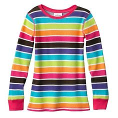 Jumping Beans Striped Thermal Tee - Girls 4-7