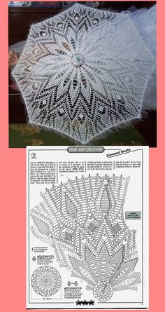 Crochet Umbrellas Archives - Beautiful Crochet Patterns and Knitting Patterns Free Crochet Doily Patterns, Crochet Doily Diagram, Crochet Chart, Lace Patterns, Filet Crochet, Crochet Motif, Crochet Doilies, Crochet Stitches, Knit Crochet