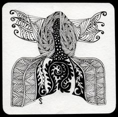 https://flic.kr/p/9ScqK5 | Tile 5 | Same basic outline as many of my Zentangle® tiles, but I think using different strings and tangles really changes the feel. This is definitely not a corset!