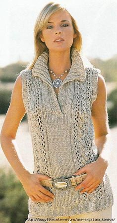 Top con escote polo - chunky beige sleeveless sweater w/ polo collar and cabled panels FREE knitting pattern in Spanish (hva) Knitting Patterns Free, Knit Patterns, Free Knitting, Free Pattern, Vest Pattern, Knit Vest, Crochet Clothes, Pulls, Crochet Top