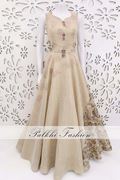 PalkhiFashion Exclusive Beige Full Flair Designer Outfit with Elegant print & Work.