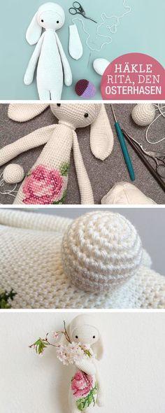Häkelanleitung: Rita den Osterhasen häkeln, Osterideen / easter crocheting tutorial: crochet an easter bunny via DaWanda.com