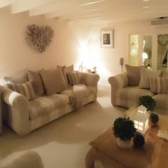 Lounge...striped sofa....twig heart...topiary...lanterns....barn conversion.