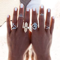 New 6pcs/Set Vintage Punk Ring Set Hollow Antique Silver Plated Lucky midi Rings Women Boho Beach Jewelry Natural Stone