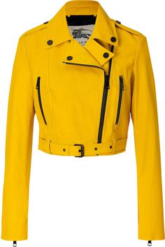 Burberry Leather Biker Jacket in Tourmaline Yellow | #Chic Only #Glamour Always