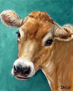 Jersey Cow Art Print, Dracos, Jersey Cow on Teal, Farm Art, Various Sizes Cow Canvas, Canvas Art, Teal Art, Teal Blue, Dark Blue, Farm Art, Cow Art, Animal Paintings, Paintings Of Cows