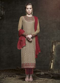 Brown Maroon color Pure Georgette Straight Suit