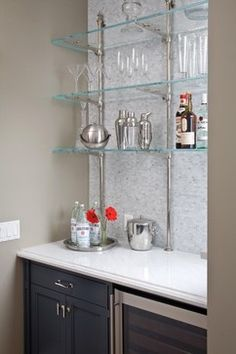 Bar Shelves - Contemporary - kitchen - Benjamin Moore Sandy Hook - Artistic Designs for Living Shelving Design, Shelf Design, Open Shelving, Shelving Ideas, Kitchen Shelf Decor, Kitchen Wall Shelves, Window Shelves, Glass Bar Shelves, Liquor Shelves