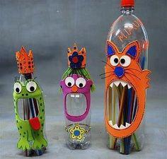 Monstres en plastique ^^.  Great for yarn pom poms in classroom.