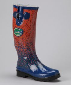 Take a look at this Orange & Blue Florida Rain Boot - Women by Holiday Cheer Section: Footwear on @zulily today!