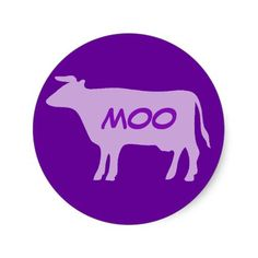 SOLD a set of Purple Moo Cow Stickers