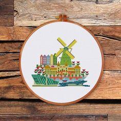 Little Amsterdam cross stitch pattern Netherland culture landmark design Cross Stitch Beginner, Cross Stitch Art, Simple Cross Stitch, Counted Cross Stitch Kits, Cross Stitch Embroidery, Cross Stitching, Easy Cross, Diy Embroidery, Modern Cross Stitch Patterns