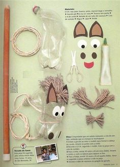 Preschool Activity World :): Toy Horse - Spielzeug Kids Crafts, Diy And Crafts, Arts And Crafts, Plastic Bottle Crafts, Recycle Plastic Bottles, Anniversaire Cow-boy, Unicorn Diy, Fathers Day Crafts, Pet Bottle