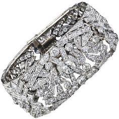 Wide Art Deco Diamond Bracelet - Lang Antiques - Polyvore