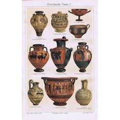 1897 Antique print of GREEK VASES. Pottery of Ancient Greece. 117 years old nice lithograph.