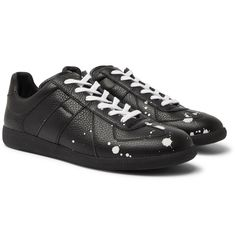 Maison Margiela - Replica Paint-Splattered Full-Grain Leather Sneakers - Black Leather Trainers, Leather Sneakers, Margiela Sneakers, Designer Trainers, Fashion Bags, Mens Fashion, White Leather, Calves, Home