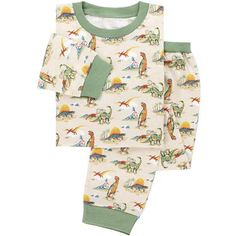Cath Kidston  Kids will love our Dinosaur print pyjamas, made from soft cotton, perfect for snuggling up in bed. This fun retro inspired print features colourful dinosaurs on a cream background with contrasting green trims. Long-sleeved top with trousers.