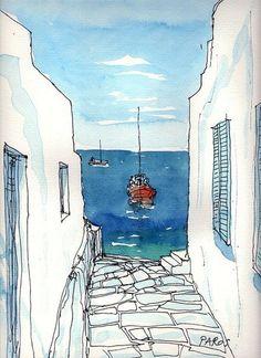 watercolor sea city