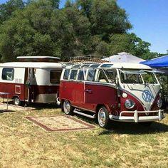 Matching vw bus and trailer Kombi Trailer, Vw Caravan, Bus Camper, Retro Caravan, Volkswagen Bus, Vw T1, Vintage Campers Trailers, Camper Trailers, Campers World