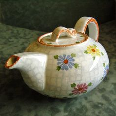 Vintage German Stoneware Teapot Lattice and Daisies Pre-War Germany Home Decor