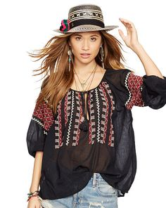 $99.99 (was $125.00). Embroidered Cotton Gauze Top from Ralph Lauren. Ship worldwide with Boderlinx.com