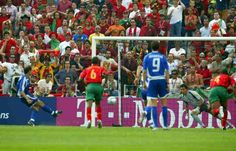 Greece 2 Portugal 1 in 2004 in Porto. Angelos Basinas scores from the penalty spot on 51 minutes to make it 2-0 to Greece to stun the crowd in Group A at Euro 2004.