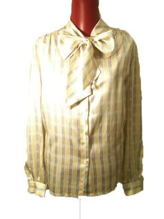 Vintage Silky Blouse with Bow Neckline by DIYstylist on Etsy, $14.50