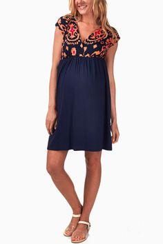 Orange-Floral-Print-Maternity/Nursing-Dress