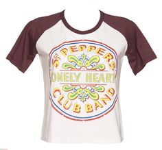 Ladies Ecru And Red Sgt Peppers Lonely Hearts Club Band Slouchy Baseball T-Shirt : TruffleShuffle.com £24.99