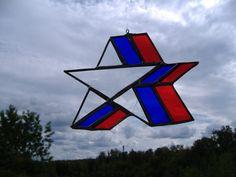 red, white, blue star,