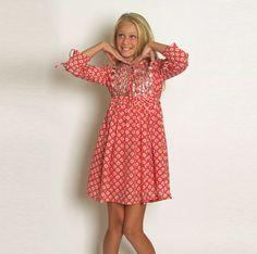One Red Fly Tangerine Shimmer Shell dress for tween girls. Stylish Boho and easy wear. #kids fashion #girls dresses
