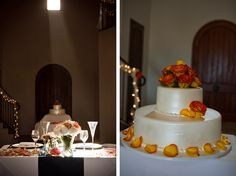 simple cake with orange roses. Photo by Viera Photographics.