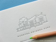 custom house sketch moving announcements by duet letterpress