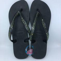 3c1d9517cc7c1 Black with Black Diamond Thick Strap SWAROVSKI® embellished Havaiana - 2  Rows   Black Diamond