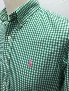 Polo #RalphLauren #Mens #Shirt Small Custom Fit Green White #Gingham Checked Cotton #menswear #mensfashion #mensstyle