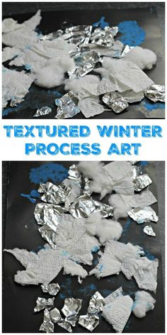 I love this Textured Winter Collage Process Art from In the Playroom! #winter #art