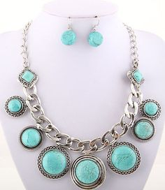 Western Modern Vintage Antique Silver Tone Turquoise Blue Necklace Set  #FashionJewelry