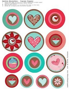 Free Heart Cupcake Toppers